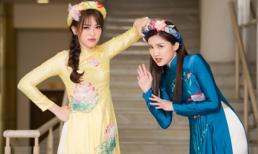 Á hậu Phương Nga diện áo dài sen, thân thiết cùng diễn viên Lương Thanh