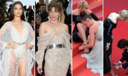 Thảm đỏ LHP Cannes 2019 ngày 11: Mỹ nhân ngực lép hở bạo; người đẹp gặp sự cố được 2 bạn diễn quỳ gối cột dây giày