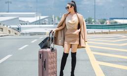 Trương Quỳnh Anh nuột nà vai trần, tự lái xe đến sân bay đi công tác nước ngoài