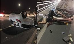 Mazda lật ngửa trên cầu Nhật Tân: Nữ tài xế có biểu hiện say xỉn