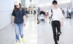 Cặp đôi tri kỷ Triệu Vy và Tô Hữu Bằng gây chú ý khi lên đồ với quần jeans rách ở sân bay