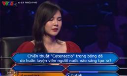 MC thể thao Thu Hoài phải nhờ đến sự trợ giúp về câu hỏi bóng đá khi thi 'Ai là triệu phú'