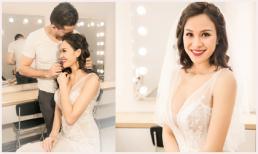 Phương Mai ra Hà Nội thử layout make-up cho đám cưới, chồng Tây quyến luyến không rời nửa bước