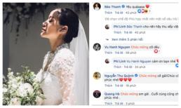 MC Phí Linh lần đầu đăng ảnh cưới xinh lung linh, sao Việt tấp nập chúc mừng