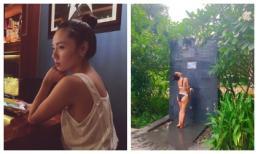 Ở tuổi 35, Phương Linh khoe vòng ba 'khủng' với bikini đứng tắm dưới vòi sen ngoài trời
