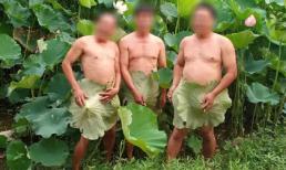 Hết thiếu nữ, tới lượt 3 nam trung niên khoe ảnh cởi trần phản cảm bên hoa sen