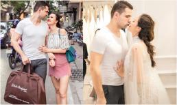 Sát ngày cưới, chồng ngoại quốc tình tứ tháp tùng Phương Mai ra Hà Nội thử váy