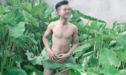 Giữa 'bão' chụp ảnh hoa sen, lại xuất hiện chàng trai khoe thân ở bãi khoai nước khiến dân mạng 'cạn lời'