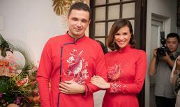MC Phương Mai diện áo dài đỏ truyền thống rạng rỡ bên bạn trai Tây trong lễ ăn hỏi