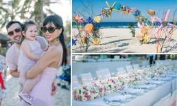 Vợ chồng Hà Anh tổ chức sinh nhật hoành tráng trên bờ biển cho con gái
