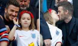 David Beckham và con gái Harper tái hiện lại nụ hôn môi gây tranh cãi giữa biển người tại Pháp