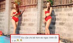 Diện bikini hai mảnh, Bảo Thanh được khen vòng eo bé hơn Ngọc Trinh
