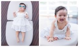 Con gái chưa tròn một tuổi đã tạo dáng cực đáng yêu và chuyên nghiệp của bà trùm hoa hậu Kim Dung