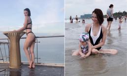 Hồng Quế diện bikini phô diễn đường cong 'chết người' trong chuyến đi du lịch cùng con gái