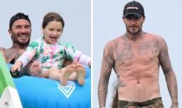 Harper diện đồ bơi đáng yêu nhưng bố David Beckham mới là tâm điểm khi khoe thân hình săn chắc ở tuổi 44