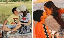 Hoa hậu đẹp nhất Hong Kong gây xôn xao khi hôn môi con trai 8 tuổi như người tình