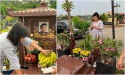 Hơn 3 tháng sau khi qua đời, NSND Hồng Vân vẫn nghẹn ngào khi thăm lại mộ Anh Vũ