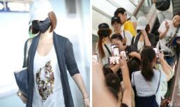 Lâm Tâm Như mặc áo rộng thùng thình sau nghi vấn bầu bí, bị fan vây kín tại sân bay