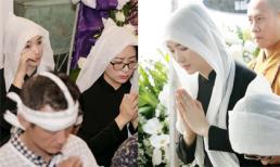 Hoa hậu Đền Hùng Giáng My đau buồn, bật khóc trong đám tang của bố
