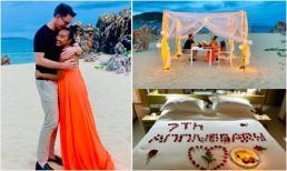 Tiệc kỷ niệm 7 năm ngày cưới lãng mạn như cổ tích của Đoan Trang và chồng tây trên biển