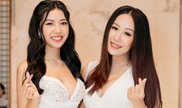 Thúy Vân diện váy xẻ cao, đọ dáng cùng Hoa hậu Ngô Phương Lan
