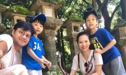Vợ chồng Đan Lê đưa hai con đi du lịch Nhật Bản