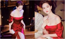 Ngọc Trinh diện đầm đỏ rực hút mắt khoe 'mình ngọc dáng ngà' ở Úc