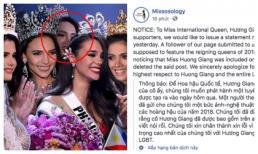 Sau bức ảnh ồn ào, Missosology chính thức công khai xin lỗi Hoa hậu Hương Giang