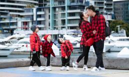Vợ chồng Ốc Thanh Vân diện đồ đôi, đưa các con đi du lịch tại Úc