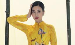 Hoa hậu Đỗ Mỹ Linh khoe dáng thướt tha với áo dài dịu dàng nhân mùa Vu lan