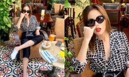 Tự tin khoe cá tính, Hoa hậu Kỳ Duyên vô tư ngoáy mũi khi đi uống cà phê ở quán sang chảnh