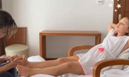 Cảnh con gái 8 tuổi của David Beckham nằm dài có người mát xa, bấm huyệt chân khiến cộng đồng mạng dậy sóng
