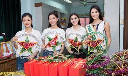 Không áo váy lộng lẫy, Top 3 Miss World Việt Nam cùng Miss International vẫn hết sức cuốn hút khi đi làm từ thiện