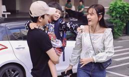 Bỏ qua ồn ào, Thu Thủy cùng chồng kém 10 tuổi hào hứng đưa bé Henry tới trường