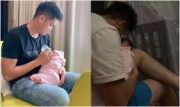 Chồng trẻ của Lê Phương chăm con gái mới sinh cực khéo bất kể ngày đêm