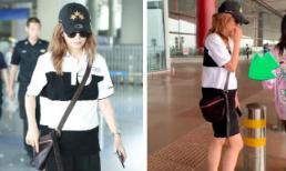 'Én nhỏ' Triệu Vy bị nghi ngờ bầu bí lần 2 khi xuất hiện với vòng bụng nhô cao tại sân bay