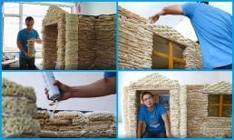 Ông bố xây nhà bằng 2000 gói mì tôm cho con