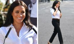 Trở lại đường đua với chị dâu Kate, Meghan mặc đồ như nàng công sở