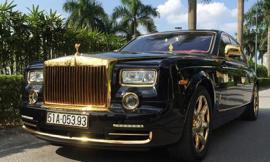 Rolls-Royce Phantom mạ vàng, gắn hình rồng nổi ở Hà Nội
