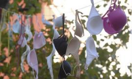 Treo áo lót ngoài đường để chống bạo lực gia đình