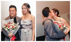 Bà xã Lam Trường bất ngờ lộng lẫy như 'celeb', lần đầu ôm hoa đến ủng hộ và ôm hôn chồng trước truyền thông