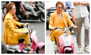 Mỹ Tâm gây sốt khi đi xe máy điện mini đến buổi ký đĩa album nhạc phim