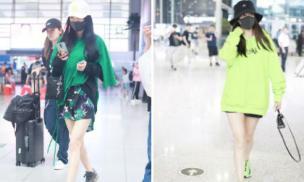 Đã chơi trội là phải như Dương Mịch và Angelababy: Diện cả cây xanh 'chói' nhất sân bay