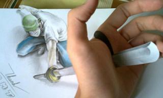 9X vẽ thanh kim loại xuyên tay gây chú ý trên mạng