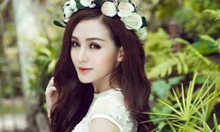 Hotgirl Kelly Nguyễn đẹp tinh khôi với váy cô dâu
