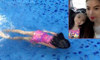 Con gái Trương Ngọc Ánh 'trổ tài' bơi lội như vận động viên nhí