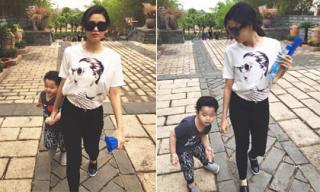 Trương Quỳnh Anh xinh tươi đưa con trai đi chơi