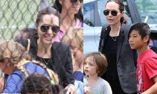 Angelina Jolie hào hứng cổ vũ các con gái chơi đá bóng