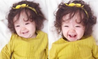 Cadie hớn hở khoe răng sữa cùng nụ cười thiên thần