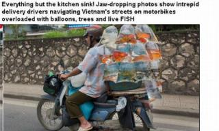 Những hình ảnh chở cồng kềnh quá tải ở Việt Nam lên báo Anh